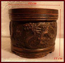"""Pot à Opium, Chine Impériale Ancienne, """"Dragon à La perle Sacrée & Phénix"""" XIXe"""
