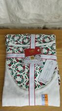 BNWT, MARKS & SPENCER PURE COTTON GREEN MIX XMAS WREATH PYJAMA SET - SIZE: 8-10