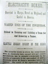 1882 newspaper with a long report of INVENTION of the PORTABLE ELECTRIC BATTERY