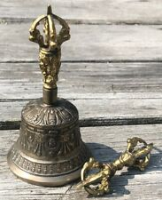 Lot Old Tibet Buddhism Copper Bronze Boddhisattva Head Dorje Vajra Bell Statue
