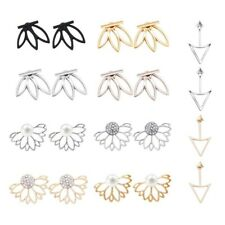 10 pairs ear jacket stud lotus flower earrings for women and girls set for D8W4