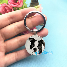 Boston Terrier Photo Tibet Silver Keychains Rings Glass Cabochon Key chain -55