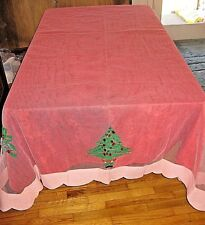 Tablecloth Christmas Pink Net with Sequin Embellished Bells Trees 107x75 Vtg