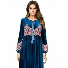 a586ebfbd3b2 Vintage Flower Embroidery Patches Plus Size Women Velvet Long Maxi Dress