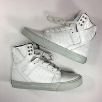 Supra Womens Skytop Skateboarding Shoes White 98003-160 Lace Up High Top 7 M