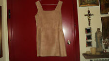 ITALIAN SUEDE LEATHER SHEATH STRAPPY DRESS PEACH SLEEVELESS - SIZE M- L