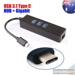 USB 3.1 Type C to 3 Port HUB and RJ45 Gigabit Ethernet Adapter USB C PC MAC