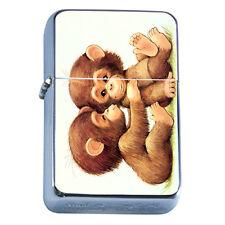 Windproof Refillable Flip Top Oil Lighter Baby Monkey D3 Adorable Ape Cute