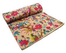 Bird Print Beige Double Indian Kantha Quilt Blanket Bedspread Bedding Gudri