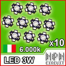 LED 3W Natural White BIANCO NATURALE 6000-6500K° 180lm Power Led 700mA 10 Pezzi