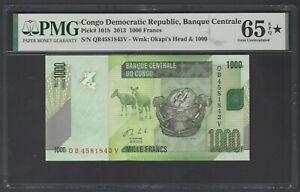 Congo Democratic Republic 1000 Francs 2013 P101b Uncirculated Grade 65 Stars
