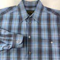 Ermenegildo Zegna Mens Button Front Shirt Blue Plaid Long Sleeve 100% Cotton L