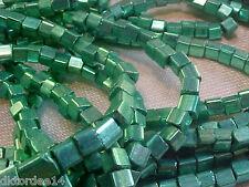 Vtg 6 strands (apprx 1000+ beads) METALLIC AQUA SQUARE GLASS SEED BEADS #082413v