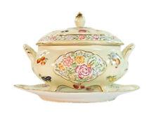 French Vintage style Porcelain Cream Oval Covered Jar & plate floral fruit 14cm