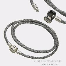 "Authentic Pandora Silver Medium Triple Grey 22.4"" Leather Bracelet 590705CSG"