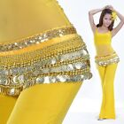 Belly Dancing Hip Scarf Skirt Wrap Chiffon Sequence Golden Coins Costume