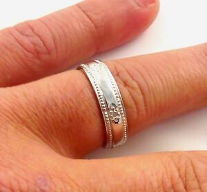 STERLING SILVER 5MM MENS LADIES DIAMOND SET WEDDING RING SIZE K - Z