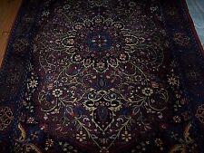 "Vintage Wool Indo-Isphahan Floor Rug Deep Burgundy Blue Green Gold Ivory 4"" x 6"""