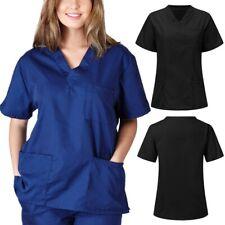 Men Women Short Sleeve V-neck Nursing Uniform Blouse Scrub Tops with Pocket