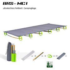 BRS tragbare Campingliege Feldbett Angeln Aluminiumgestell, grau, 180x58x10 cm