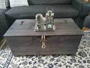 Rustic Wooden Blanket Box Chest Trunk Vintage Coffee Table Ottoman