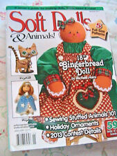 SOFT DOLLS & ANIMALS~January 2013 cloth doll patterns~techniques~tips magazine