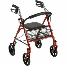 Drive Medical Red Rollator Folding Walker Adult 4 Wheels Removable Back Support