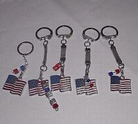Patriotic American USA Enamel Wavy Flag Charm & Crystals Key Ring with Chain