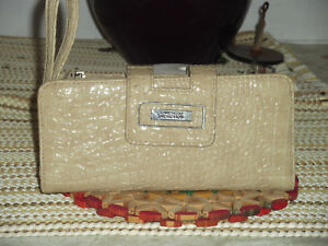 Kenneth Cole Reaction Tab Clutch with Strap Wallet Faux Croc Sand Color