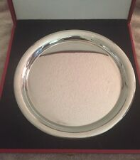 """VINTAGE 1980 CARTIER 11"""" SILVER PEWTER PLATE/SERVING TRAY RED BOX/FELT BAG"""