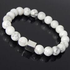 White Howlite Sterling Silver Cube Bracelet Mens Women Handmade DIY-KAREN 692