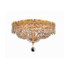 "Elegant Lighting 1900 Century 4-LT Flush, 14"", Gold/Royal Cut - V1900F14G-RC"