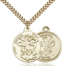 14K Gold Filled St Michael Nat'l Guard Military Soldier Catholic Medal Necklace