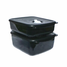 Tupperware 600ml and 1 litre Heat Eat Vent n Serve Rectangle Microwave Black NEW