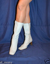 Women Grey Mid-Calf Boots Real Leather Zipped Kitten Size 5