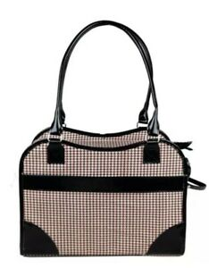 Pet Life Houndstooth Designer Fashion Travel Pet Carrier Tote Bag Red and Black
