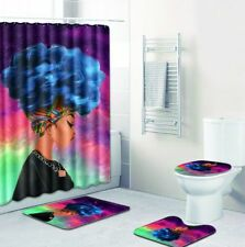 Colorful African Queen Bathroom Shower Curtain Toilet Seat Cover Rug Set