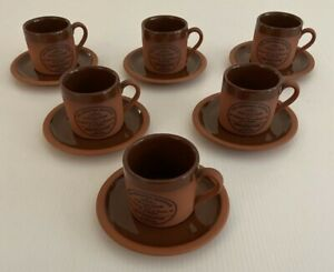 6 Ceramic Coffee Cups, Original Suffolk Collection Henry Watson Pottery England