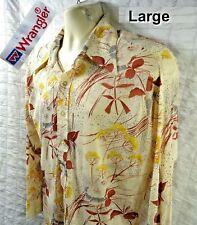 Vintage 70s Wrangler Beige + Floral Stretch Acetate Disco Shirt Mens Size Large