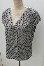H&M Conscious Ladies Size UK 10 Black White Print Slouch Tunic Top Summer Wear