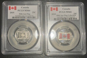 2015 CANADA PCGS MS66 50TH ANNIV. CANADA FLAG COLORIZED & FROSTED 25C SET