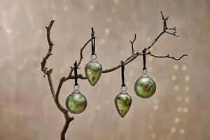 4 Moss Green Dew Drop Hanging Bauble Rustic Antique Christmas Jalshara Nkuku