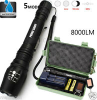 X800 Shadowhawk 8000LM Zoom Taschenlampen LED CREE XM-L2 Tactical+2X 18650+Lade