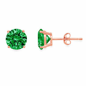1.5CT Round Solitaire Studs Simulated Emerald 18k Rose Gold Earrings Push back
