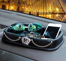 1Pcs Fashion Crown Diamond Car Skid Storage Box Car Accessories Phone Mat Black