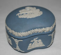 Wedgwood - Blue Jasperware - Kidney shaped lidded trinket box - Aurora - vgc