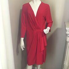NWT Michael Kors  True Red Faux Wrap Dress Crossover V-Neck Stretch sz XL