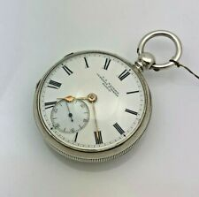 Antique ENGLISH 1878 CHESTER Sterling Silver Fusee Key Wind Pocket Watch 49mm