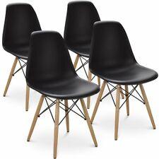Lot de 4 Chaises Style Scandinaves Chaise en ABS Plastique Cuisine Noir/Blanc