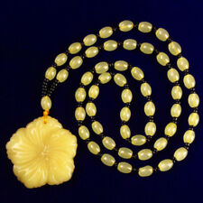 A Strand Yellow Aventurine Flower Pendant&yellow jade Long Necklace 35inch